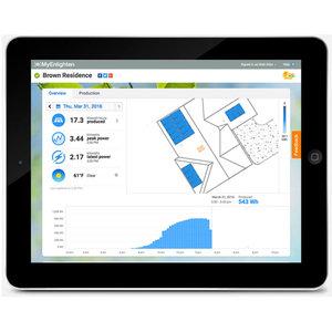 enphase solar monitoring app on a tablet
